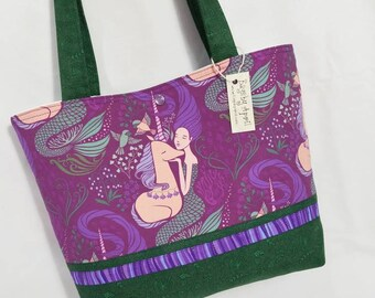 Mermaid and Unicorns in Purple and Green Bags by April tote bag So Lovely!