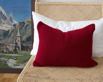 Strikk Hand Knit Seed Stitch Cushion in Red