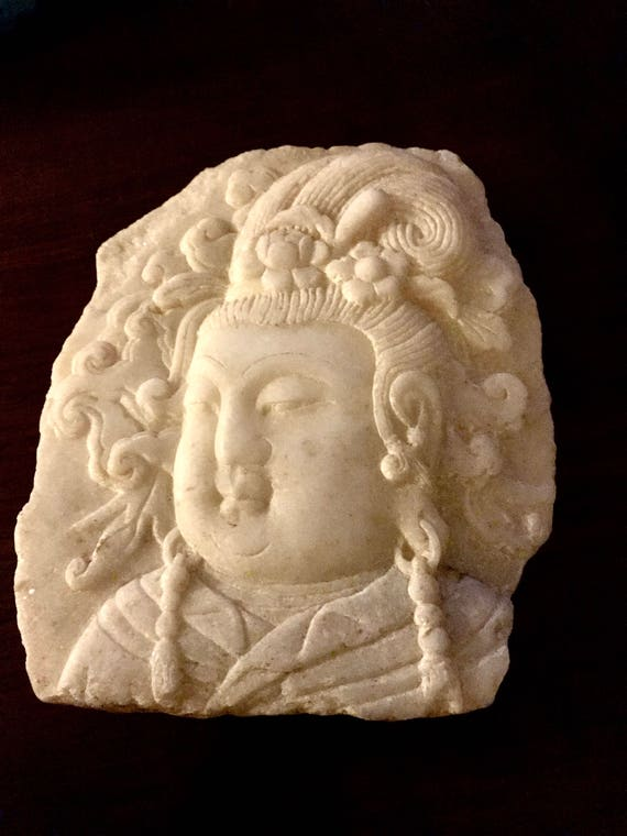 Chinese Carved Marble Guanyin (Guan Yin) Stone Panel Fragment Bas Relief