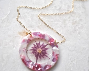 Pressed Purple Phlox Necklace Pressed Flower Jewelry Botanical