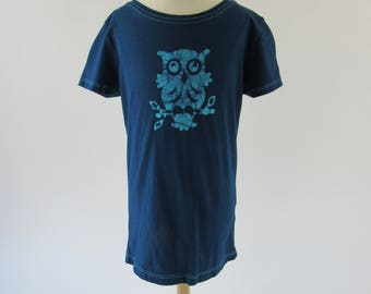 Size 7/8 Girls Fitted Tee, Longer Length Girls Shirt with Cap Sleeves, This Listing has Owls, Ladybugs, Turtles and Octopus Batik Designs