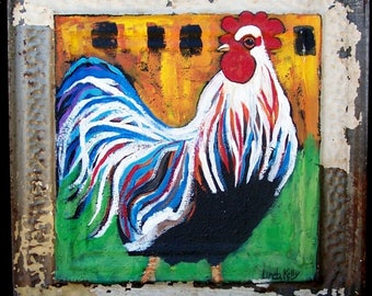 """Original Folk Art Rooster Painting on 100 yr old Tin Tile Recycled 12"""" x 12"""""""