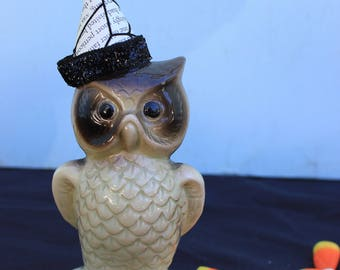 Vintage Style Halloween - Ceramic Owl Figure with Spiderweb Witch Hat. Black Band