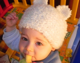 French Fuzzy Animal Ears Baby and Toddler Hat Pattern PDF