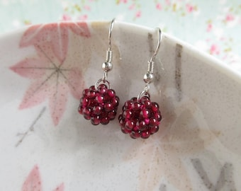 Garnet Earrings, January Birthstone Earrings, Wine Red Gemstone, Woven Ball, Bridesmaid Gift, Silver Gold Plated Brass Sterling Silver
