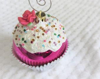 Set of 2  Christmas Cupcake Ornaments