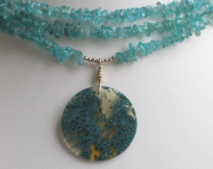 Featured listing image: Natural Teal Gemstone Choker, Apatite Multi Strand Necklace with Big Moss Agate Pendant, Ready to Mail Original Gift for Her