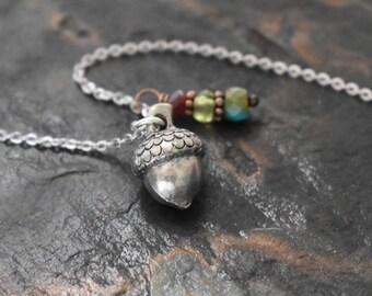 Acorn and Gemstone Necklace
