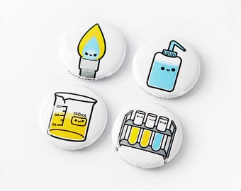 Chemistry Button, Chemistry Magnet, Lab Equipment, Bunsen Burner, Test Tube, Beaker, Science Button, Chemistry Gift, Biology Gift,roocharms