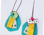 Turquoise collage party painted tin earrings