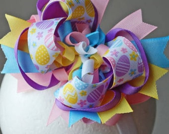 Easter Eggs Layered Boutique Korker Bow