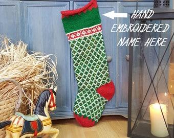 Fair Trade Knit Christmas Stockings fair-trade Knit Stockings Knit X-mas Stockings Handmade Christmas Stocking knit xmas Stockings Green Red