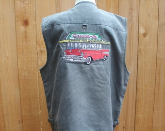 Gray Embroidered Auto 1957 Chevrolet Low Rider Multi Pocket Zippered Vest, Men's XL