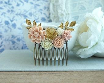 Pink Gold Wedding Comb Slide Pink Rose Chrysanthemum Ivory White Gold Sprig Leaf Hair Comb Bridesmaids Gift Bridal Dusty Pink Rustic Wedding