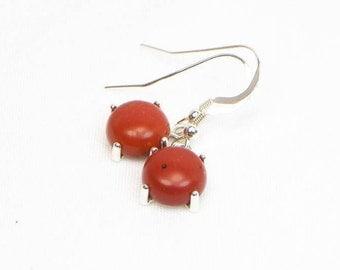 Red Jasper Earrings - 10MM - Sterling Silver - Genuine Gemstones - Cabochon Earrings - Natural Stones