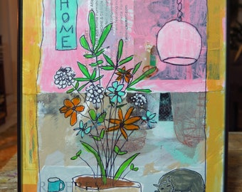 Original Flowers Painting, MixedMedia, Collage