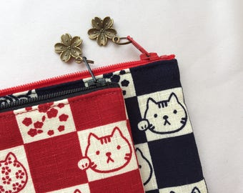Maneki-neko Zipper Pouch / Pencil Case - Red / Indigo