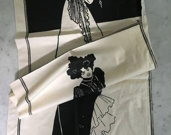 Vintage Aubrey Beardsley 1970s Art Fabric Panels Pillows Quilts