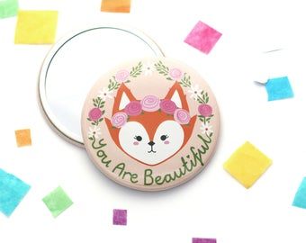 Fox Pocket Mirror, Purse Mirror, You Are Beautiful, Girlfriend Gift, Best Friend Present, Floral Crown