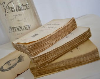 """Set of Three Volumns """"Histoire de la Musique"""" French Antique Books - Faded French Romance, French Tattered Books"""