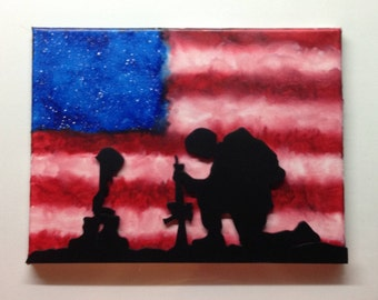Kneeling Soldier with American Flag Background, Melted Crayon Art Painting