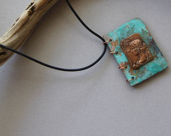 Verdigris Copper Mini Journal Pendant with Vintage French Brass Maiden on Blue Green Copper Covers Choose Leather Cord or Chain