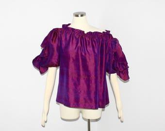 SAINT LAURENT Vintage Rive Gauche Opalescent Purple Pouf Off Shoulder Peasant Blouse - Authentic -