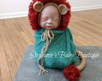 Leo the Lion Bonnet and Tail Set, Crochet, Newborn, Baby Boy or Girl, Photo Prop, Photography Prop, Baby Shower Gift, Lion Hat, Zoo Animal