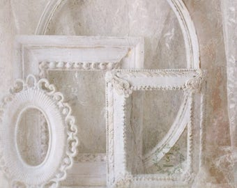 White Shabby Chic Frames/Wall art frames/ Painted Distressed/ French Country Vintage White/ 4 frames
