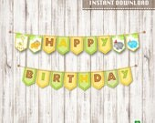 Safari birthday party banners DIY party banner printable safari bday bunting signs party printables first birthday instant download PDF