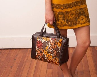 Vintage Brown Handbag with Orange and Red Floral Print - Vtg Brown Purse - Vintage 60s Handbag - 1960s Accessories - Gift For Her
