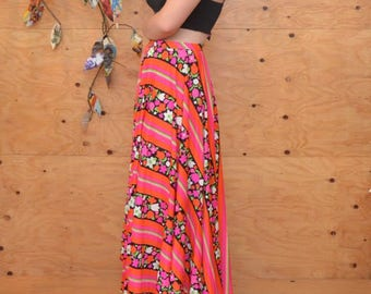 Vintage 60s Boho Dark Gypsy Bright Floral Striped Maxi Skirt In Hot Pink Size S