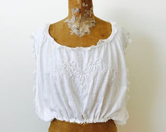 Antique White Edwardian Cotton Camisole/Lace Trim/Whitework Embroidery/Vintage Bridal/Vintage Wedding