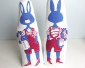 Farmers Market Bunny Girl Plush. Printed on Both Sides. Hand Screen Printed.Limited Edition. Ready to Ship.