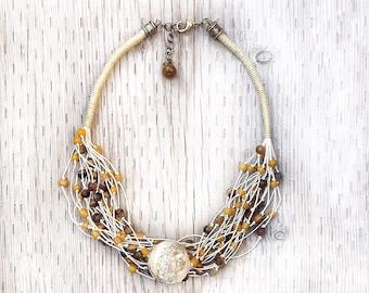 Linen Multi Strand Necklace, Boho Necklace, EcoFriendly Necklace, Handmade Glass Beads, Earthy Necklace, Stone Beads