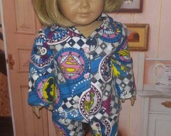 Girl Power super heroes pajamas fits 18 inch doll wonder woman super girl cat woman