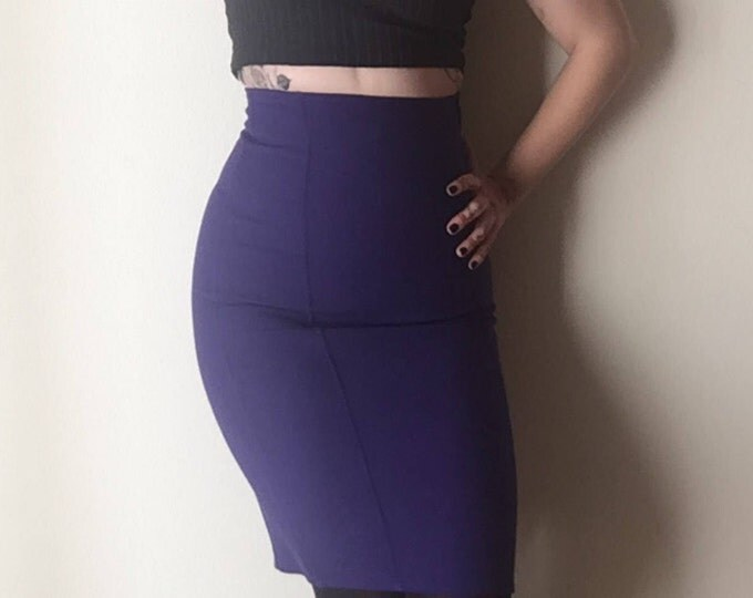 Calvin Klein Bandage Skirt | S ultra high waist deep indigo purple pencil stretch 90s vintage Neiman Marcus urban skirt womens small high