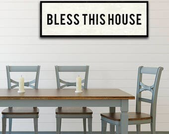 BLESS This House Sign, Farmhouse Style Decor, Christian Wall Art, Dining Room Art, Kitchen Sign, Vintage Wall Decor, Large Canvas Sign.