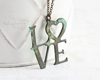 Love Pendant Necklace, Rustic Patina Necklace on Antiqued Brass Chain, Word Jewelry, Valentine's Day Necklace