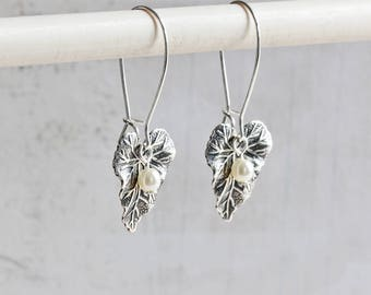 Small Antiqued Silver Plated Leaf Dangle Earrings with Custom Pearl Color