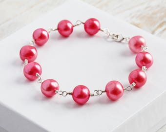 Genuine Freshwater Strawberry Pink Pearl Bracelet in Sterling Silver (Handmade Jewelry)