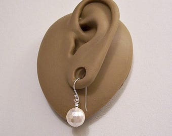 Sterling Silver Marked 925 White Pearl Disco 9mm Bead Wire Pierced Stud Earrings Vintage Round Faceted Dangles