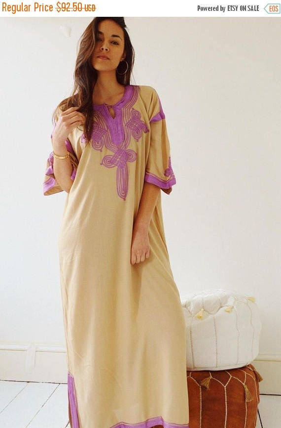 Autumn Dress 25% OFF SALE Autumn Dress Kaftan Clothing Beige with Lilac Caftan Kaftan Maxi Dress -Aziza -loungewear, as resortwear, Birthday