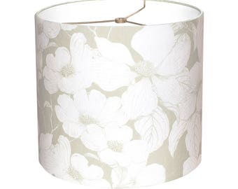 Floral lampshade etsy medium drum lamp shade dogwood flower in soft green 10 11 12 inch contemporary floral aloadofball Choice Image
