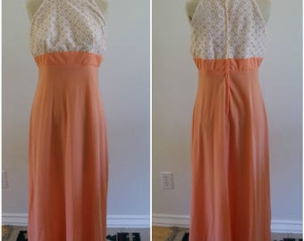 "70's Vintage Sleeveless Coral Empire Waist Maxi Dress - 30"" Waist - Boho - Wedding - Special Occasion"