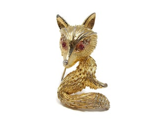 Vintage Rhinestone Fox Brooch Gold Tone with Red Rhinestone Eyes