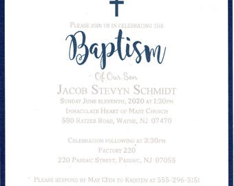 Baptism Invitation Boy Navy - Christening, First Communion, Confirmation, Dedication