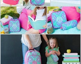 Girl Backpack.  Pretty Mint, Blue, and Pink, Matching Lunchbox and Pencil Case can also be purchased, Monogram Included