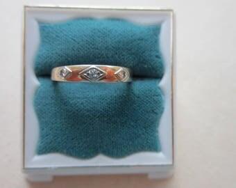14K 18K Genuine Diamond Ring White Yellow Gold 2.3 Grams Band Vintage BRISTOL