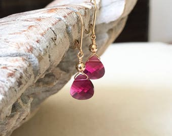 Gold Ruby Crystal Earrings